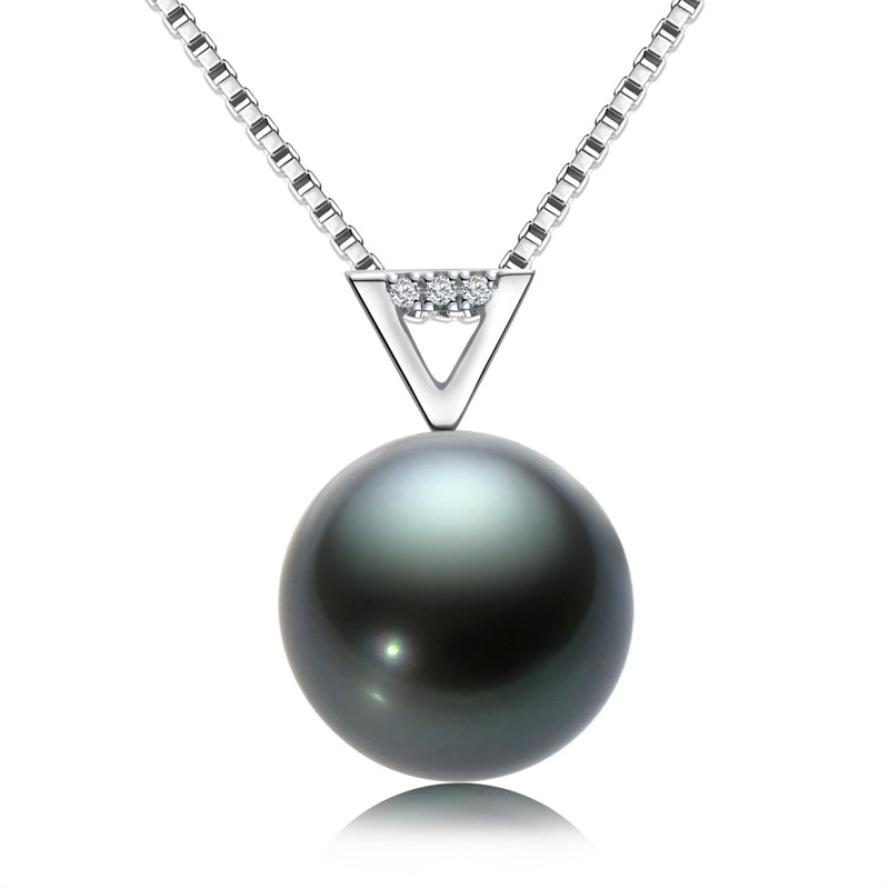18k Gold Natural Cultured Tahitian Black Pearl Diamond Pendant Necklac with Silver Chain