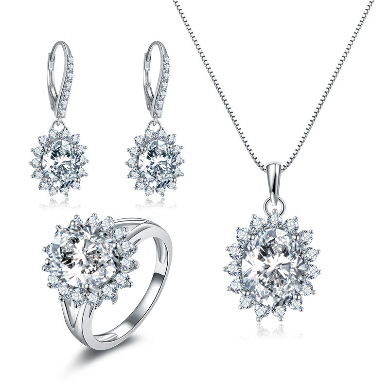 Halo Oval Created White Diamond Sterling Silver Jewelry Set