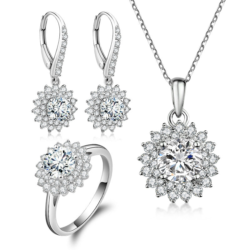 Halo Round Created White Diamond Sterling Silver Jewelry Set