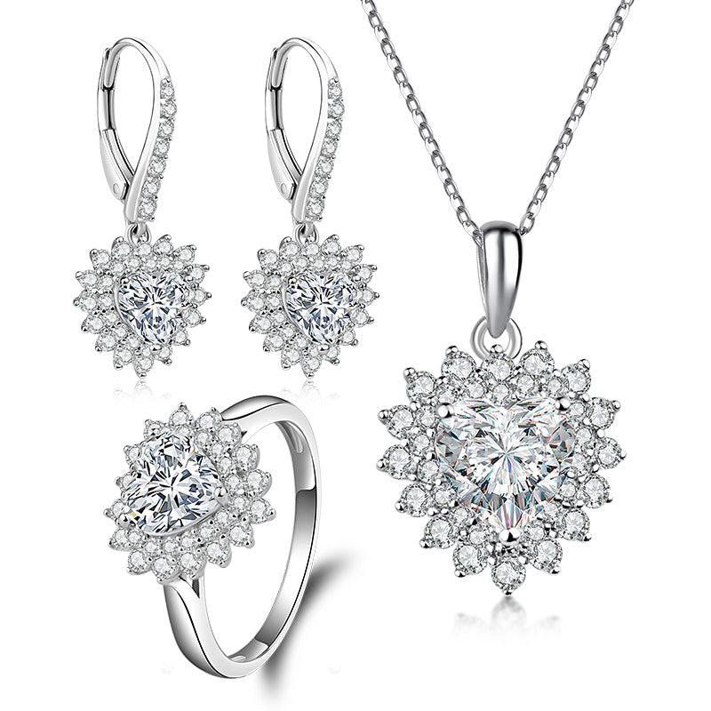 Halo Heart Created White Diamond Sterling Silver Jewelry Set