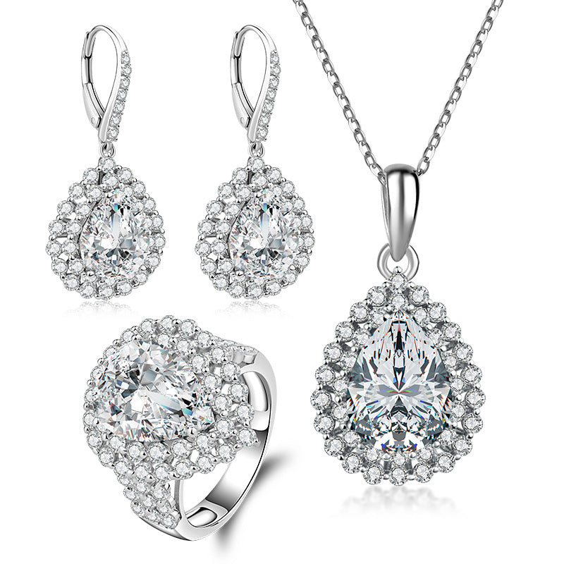 Halo Pear Created White Diamond Sterling Silver Jewelry Set