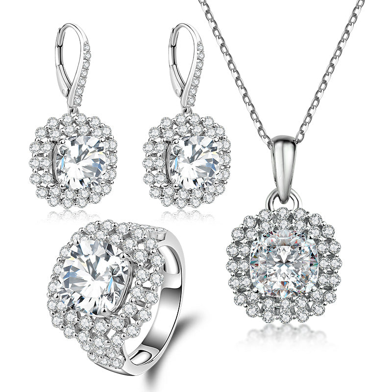 Halo Cushion Created White Diamond Sterling Silver Jewelry Set