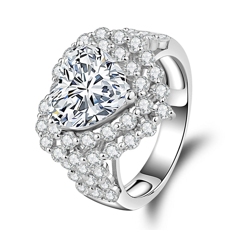 Double Halo Heart Cut Created Diamond Ring