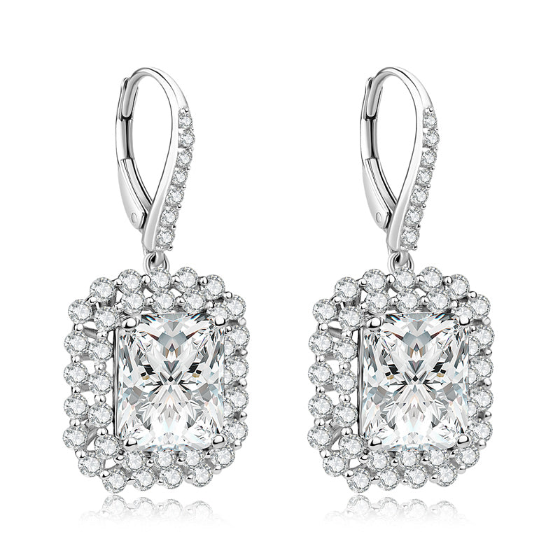 Halo Radiant Created White Diamond Sterling Silver Jewelry Set