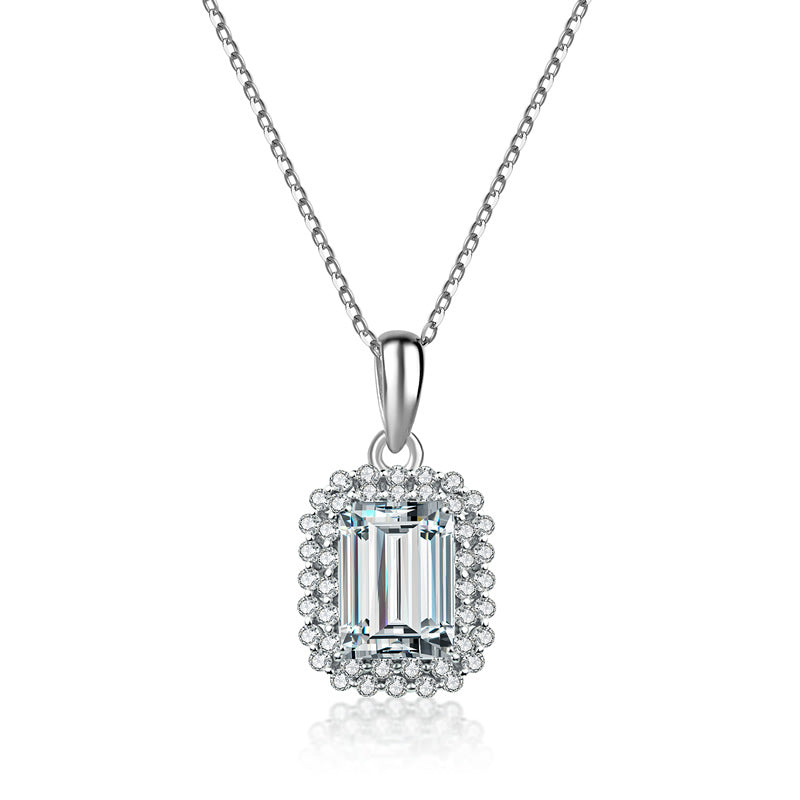 925 Sterling Silver Emerald Cut Created White Diamond Pendant Necklace