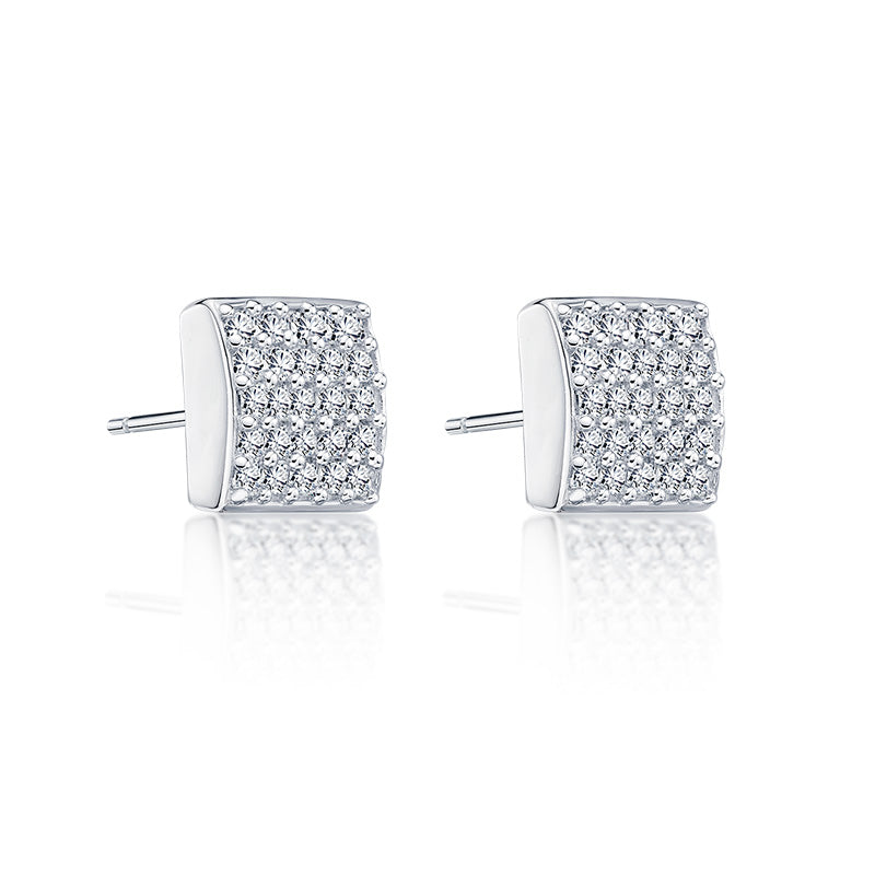 Princess Created White Diamond Stud Earrings