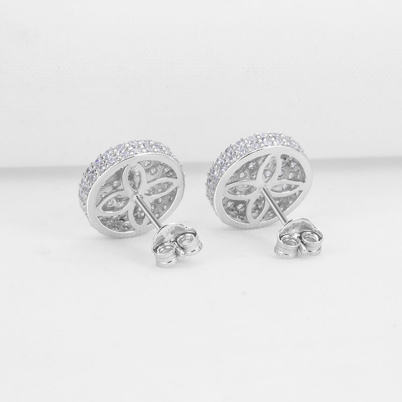 Round Created White Diamond Stud Earrings