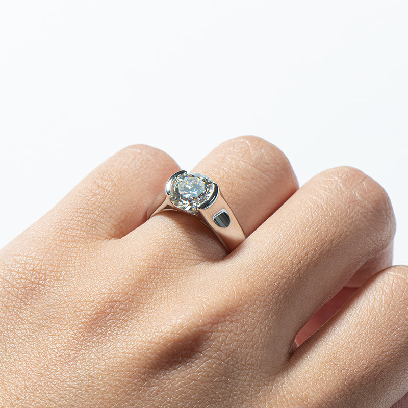 Classic Round Moissanite Diamond Solitaire Ring