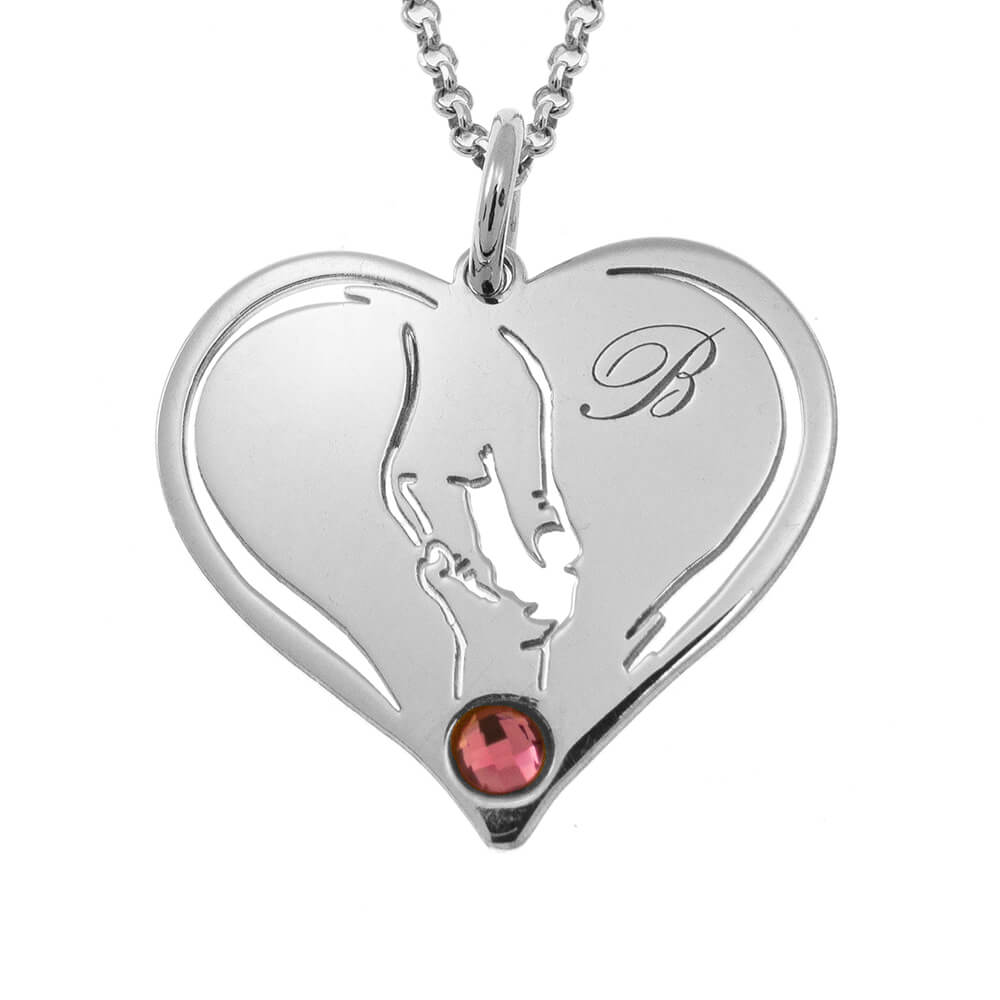 Mother And Baby Hands In Heart Necklace