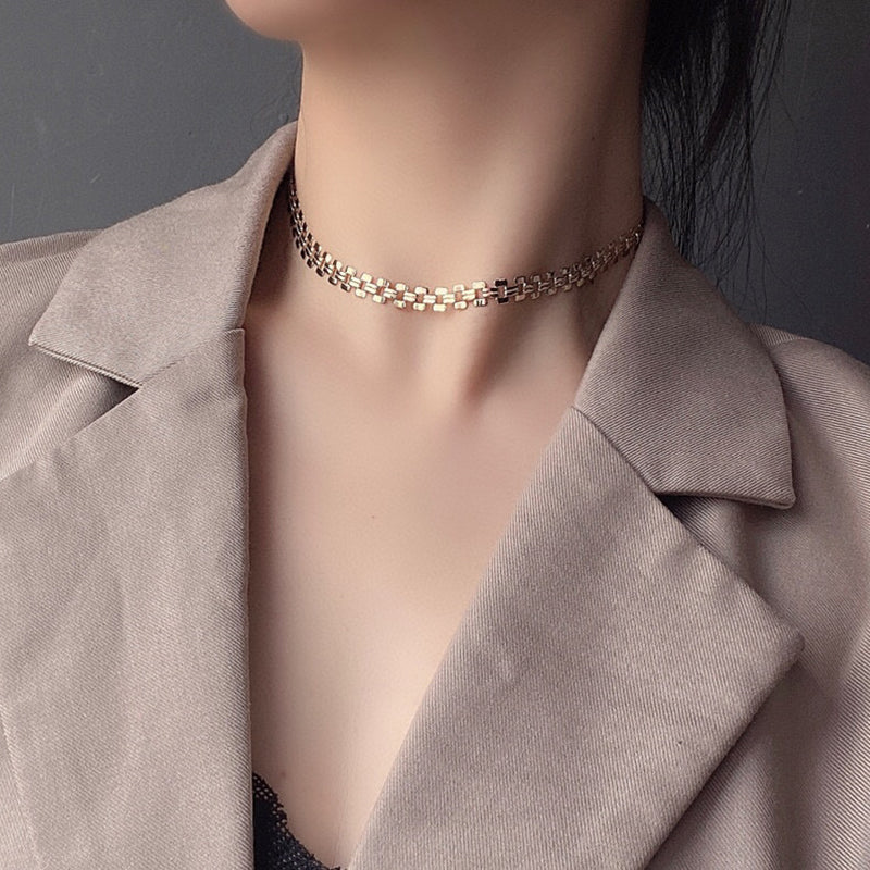 18K Gold Dainty Chain Link Choker Clavicle Necklace 16''