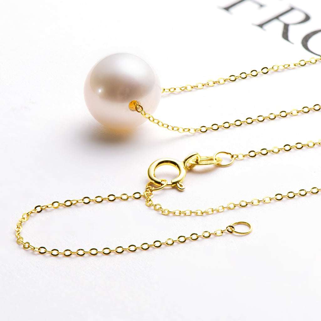 18K Yellow Gold Freshwater Pearl Classic Brief Necklace