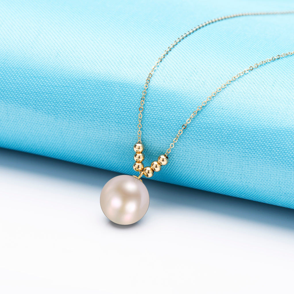 18K Gold Beads Chain Natural Cultured Freshwater Pearl Necklace