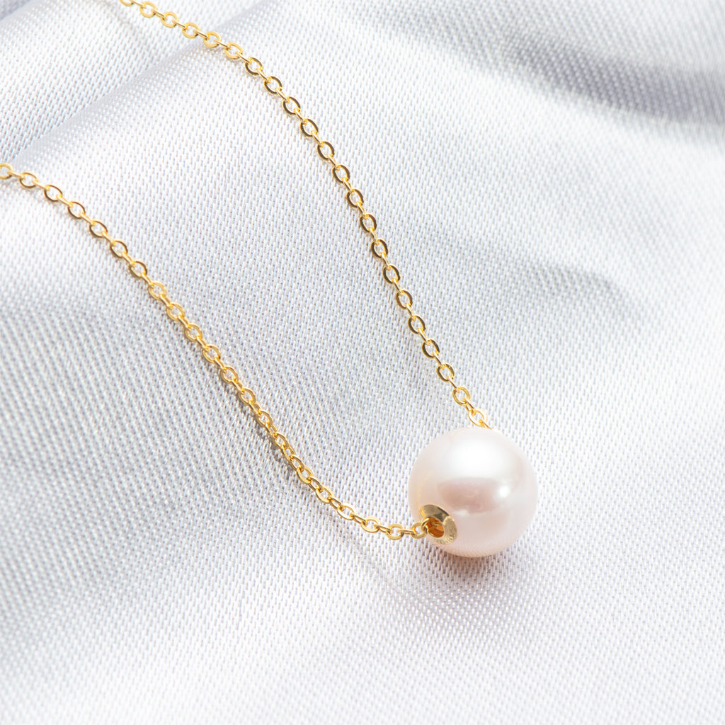 Classic Simple Design Freshwater Pearl 18K Gold Chain Pendnat Necklace