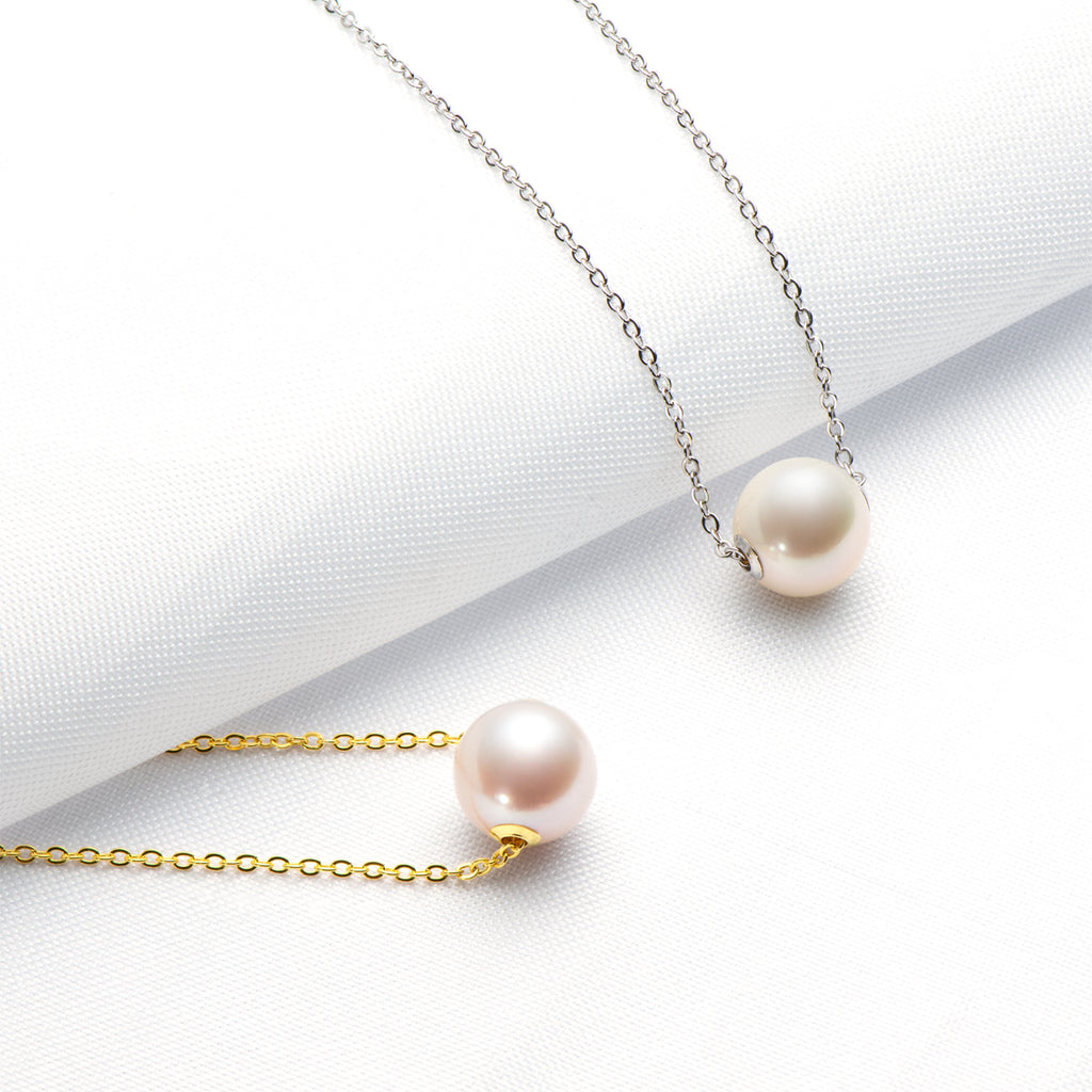 18K Gold Pendant Natural Cultured Freshwater Pearl Music Pendant Necklace