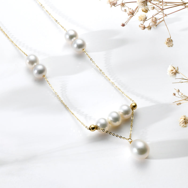 18K Yellow Gold Freshwater Pearl Necklace