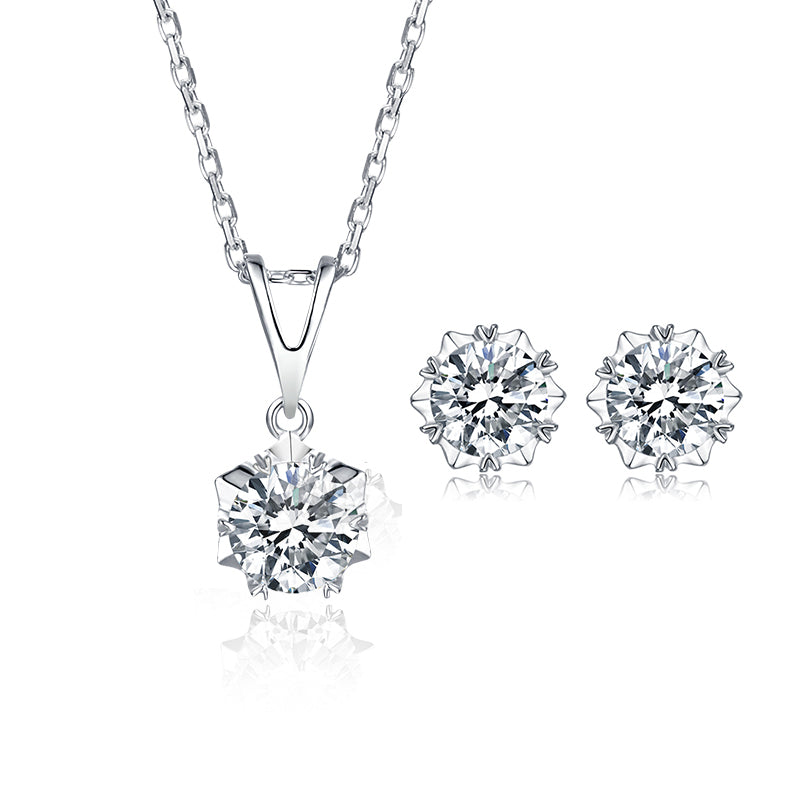 Classic Brilliant Round Moissanite Stud Earrings Pendant Necklace Jewelry Sets