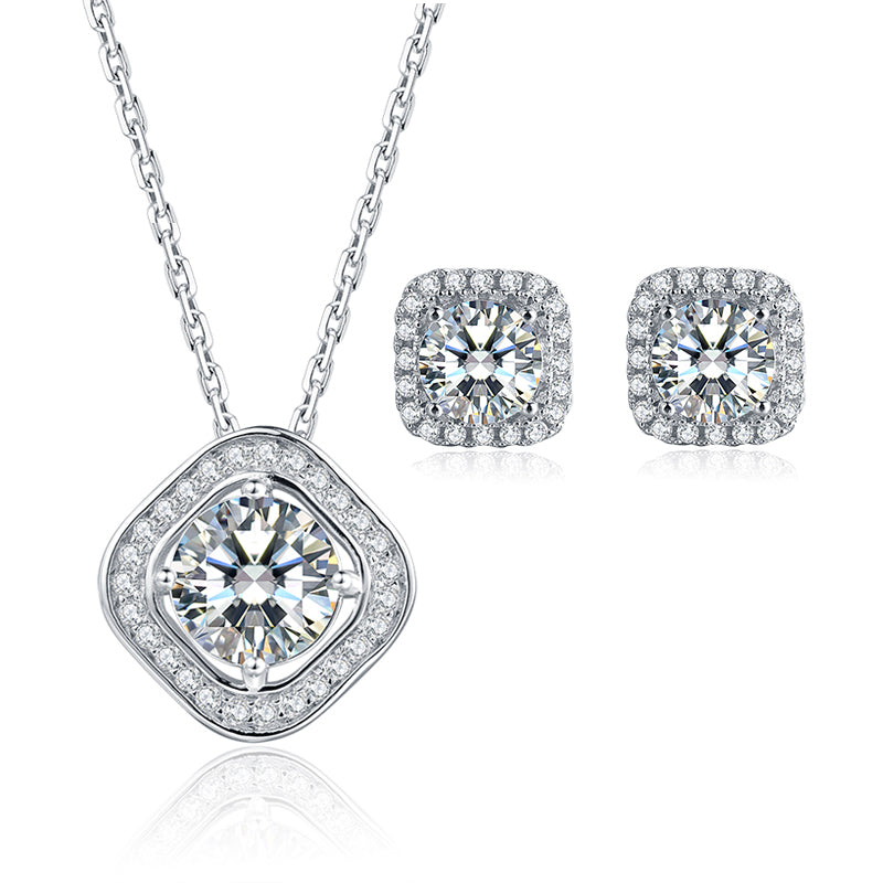 Brilliant Round Cut Moissanite Diamond Stud Earrings Necklace Sets