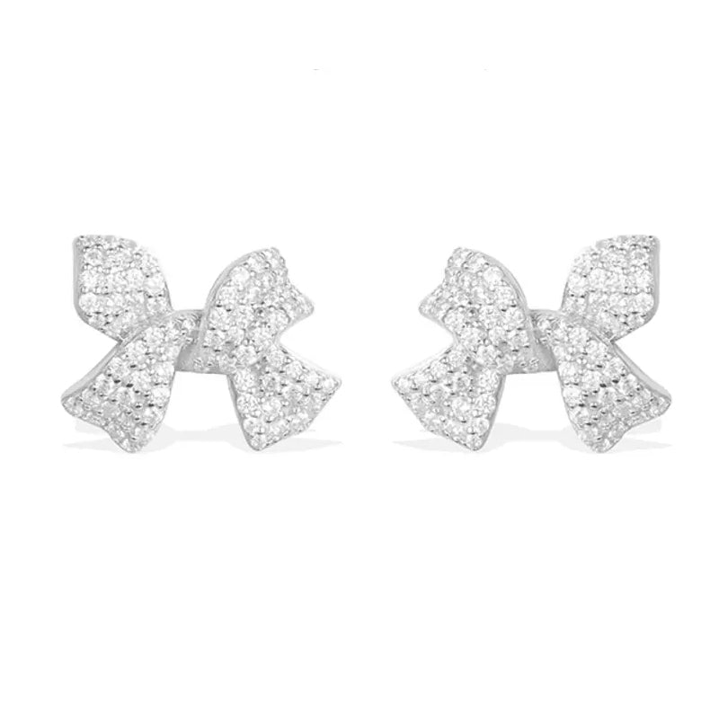 Sterling Silver Created Diamond Small Cute Bow Tie Earrings