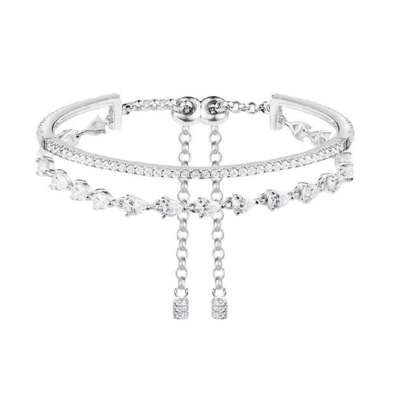 Pear Created White Diamond Personalized Dinner Bracelet