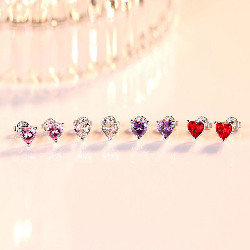 White/Pink/Purple/Red Heart Shape Created Sapphire Stud Earrings