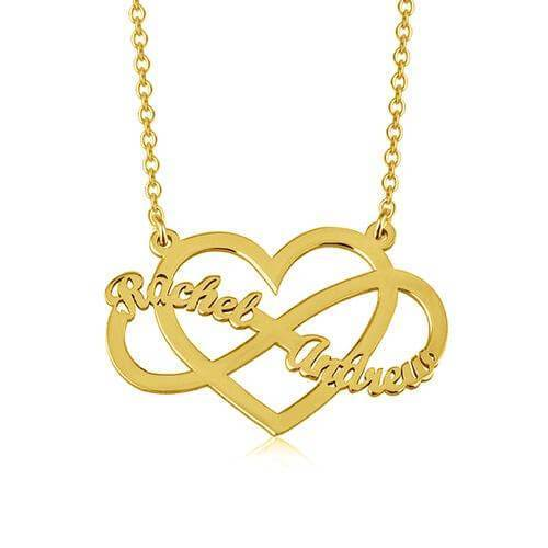18K Gold Heart & Infinity Love Necklace With Customized Two Name