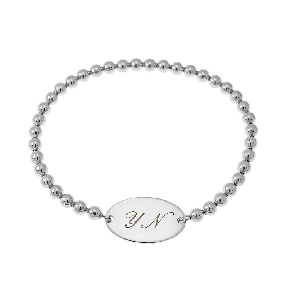 Oval 2 Initials Stretch Bead Bracelet
