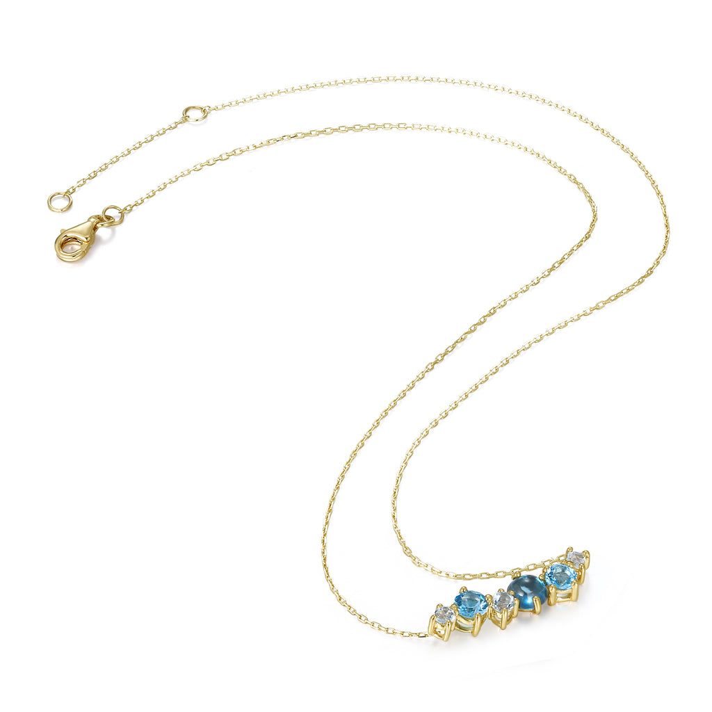 14K Gold Exclusively Handcrafted 6PCS 2.466CT Aquamarine Necklace