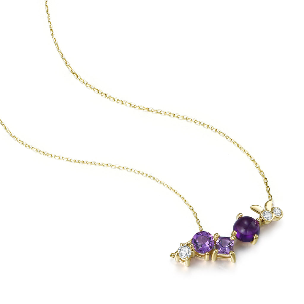 14K Gold Exclusively Handcrafted 3PCS 0.255CT Diamond And 3PCS 1.715CT Amethyst Necklace
