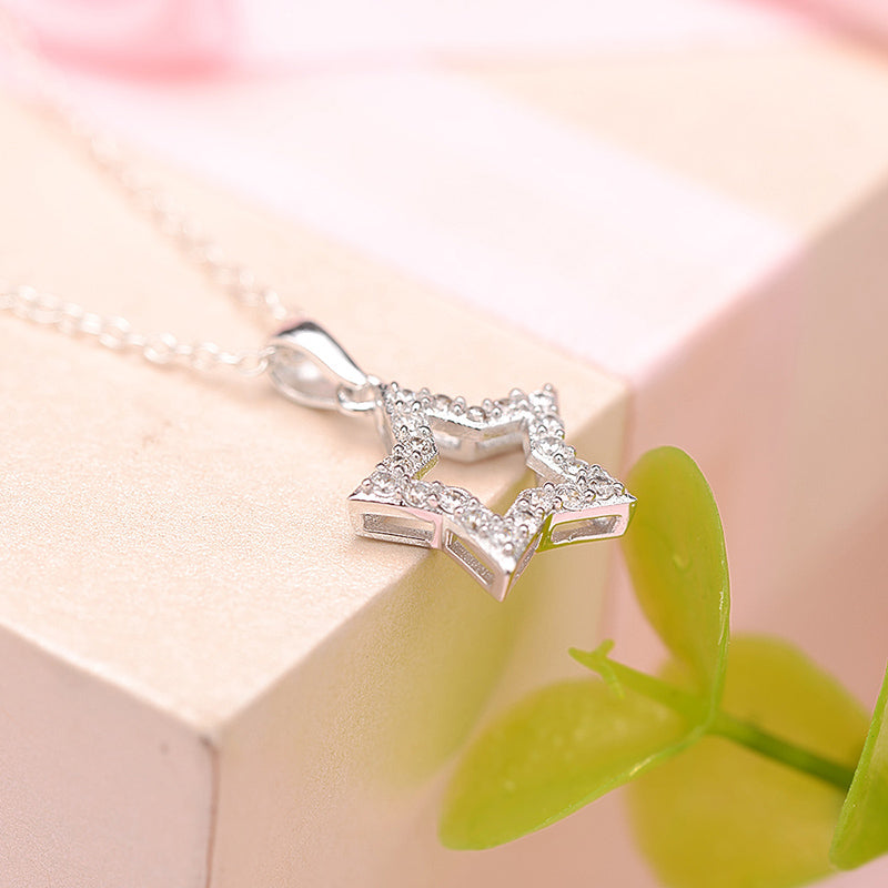 Five Star Created White Diamond Pendant Necklace