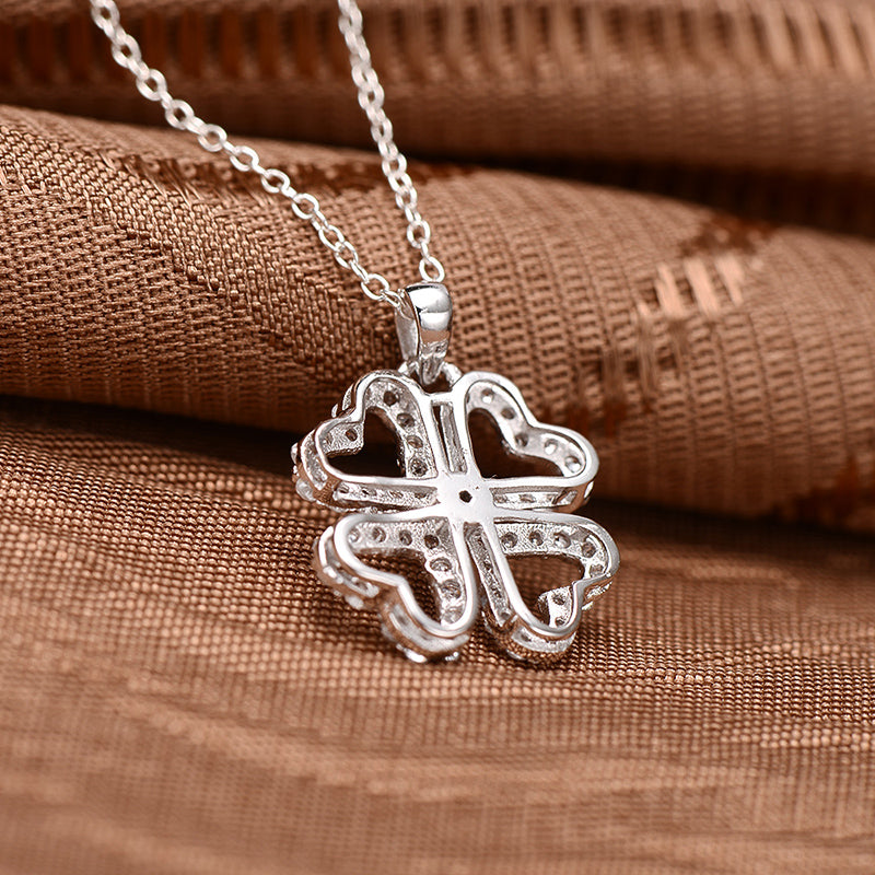 Leaf Clover Created White Diamond Pendant Necklace