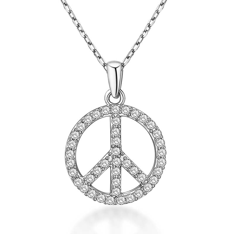 Peace Sign Created White Diamond Pendant Necklace