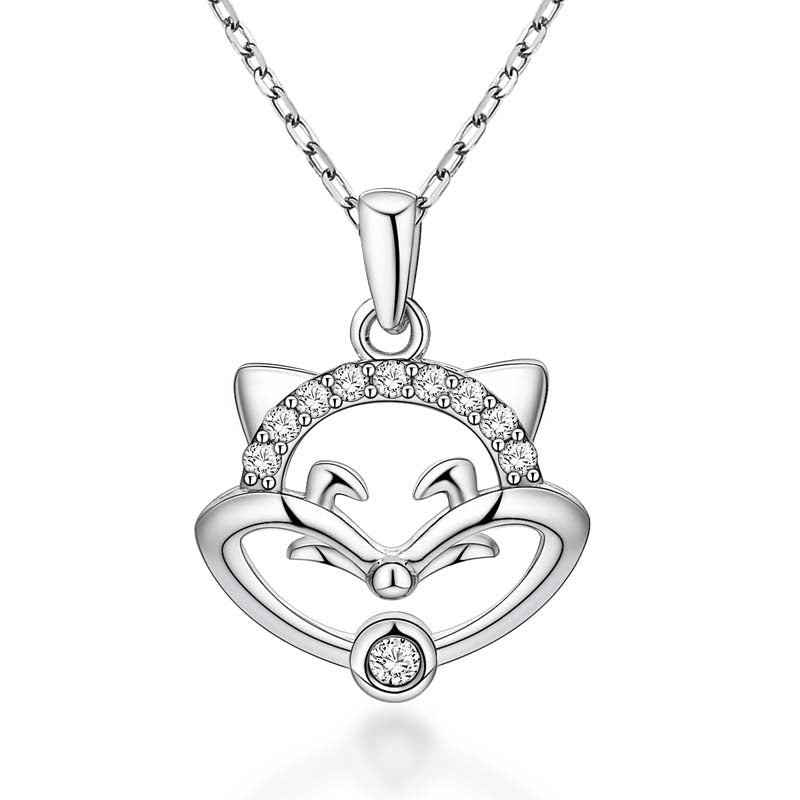Fox Face Created White Diamond Pendant Necklace