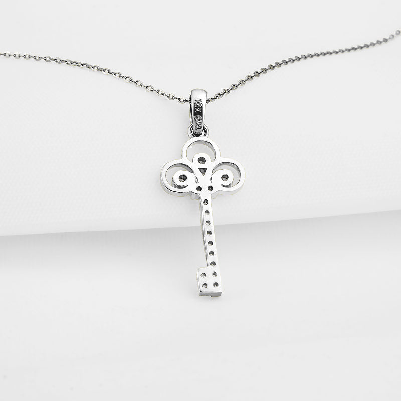 Key Created White Diamond Pendant Necklace