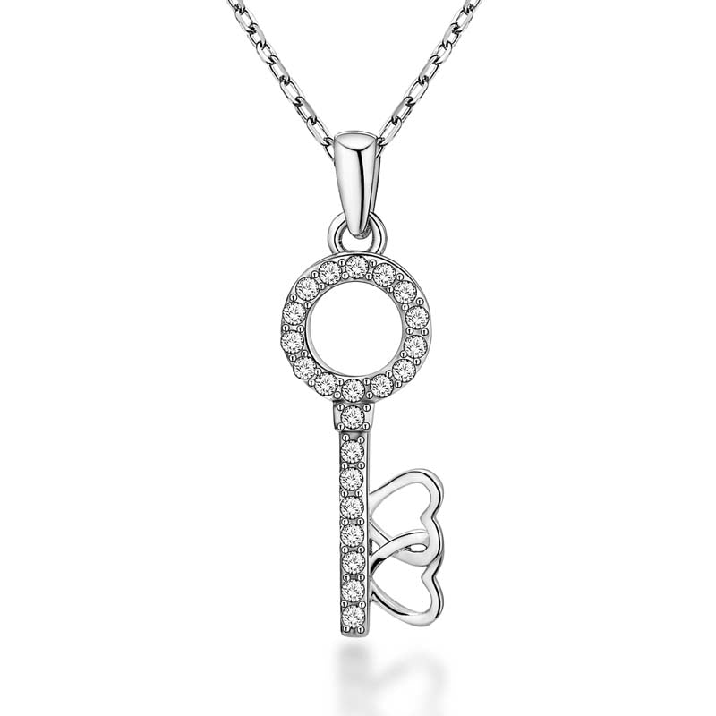 key Round Created White Diamond Pendant Necklace