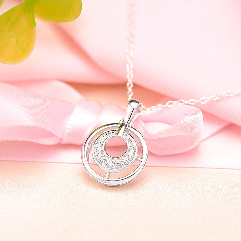 Double Circle Created White Diamond Pendant Necklace