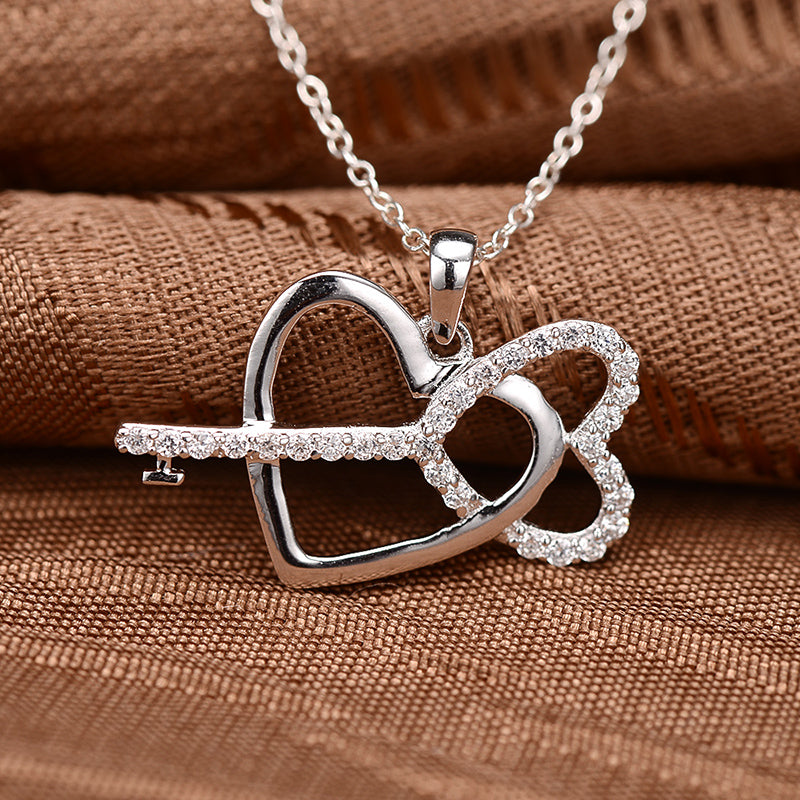 Sweet Heart and key Created White Diamond Pendant Necklace