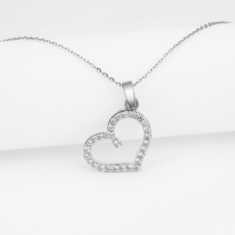 Fashion Heart Created White Diamond Pendant Necklace