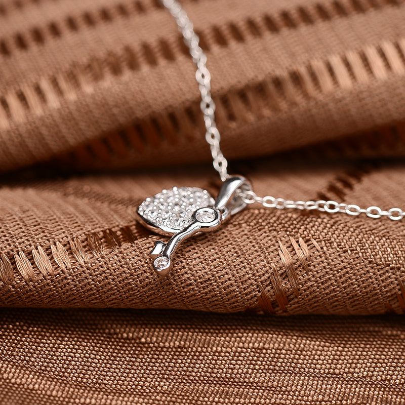 Lock And Key Created White Diamond Pendant Necklace