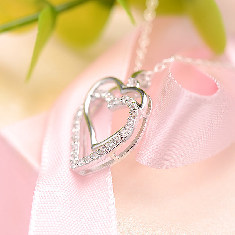 Double Heart Created White Diamond Pendant Necklace