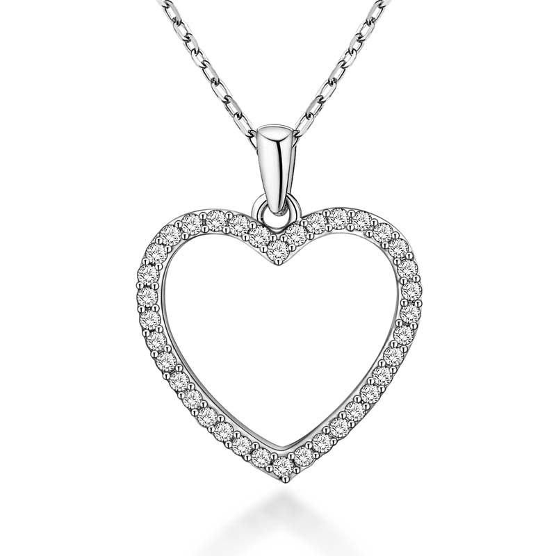 Sweet Heart Created White Diamond Pendant Necklace