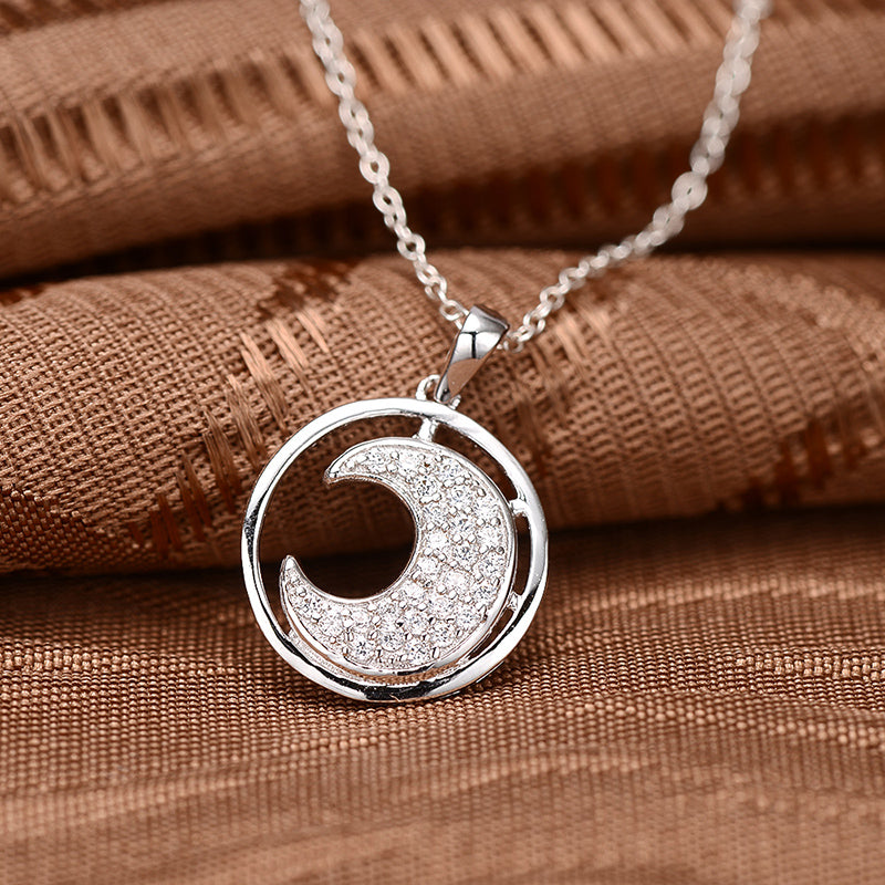 Circle Created White Diamond Moon Pendant Necklace