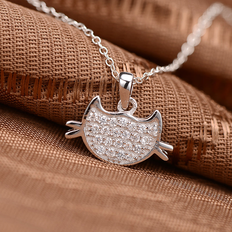 Cat Face Created White Diamond Pendant Necklace