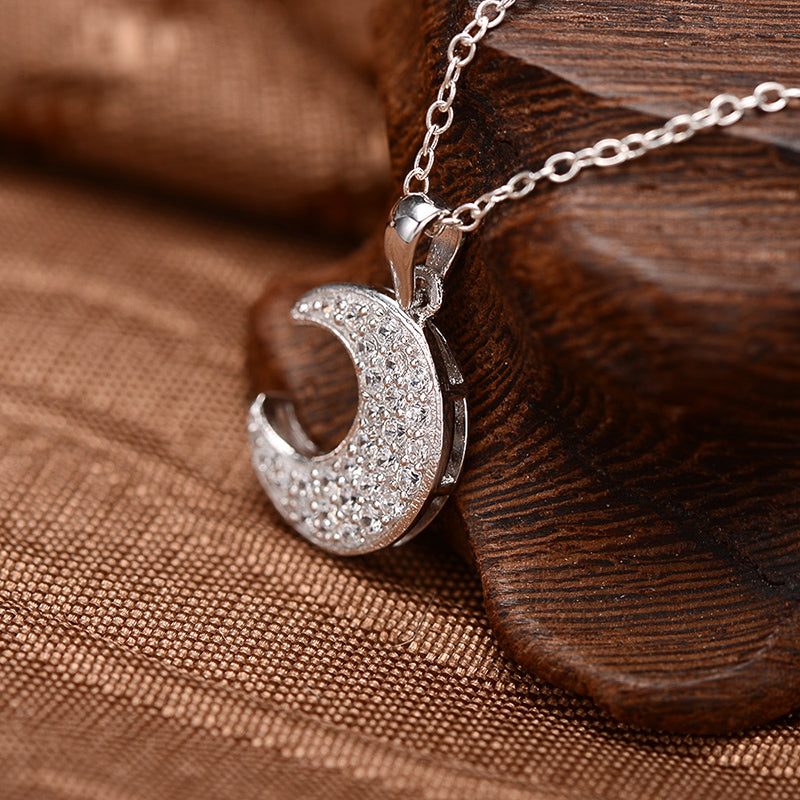 Moon Created White Diamond Pendant Necklace
