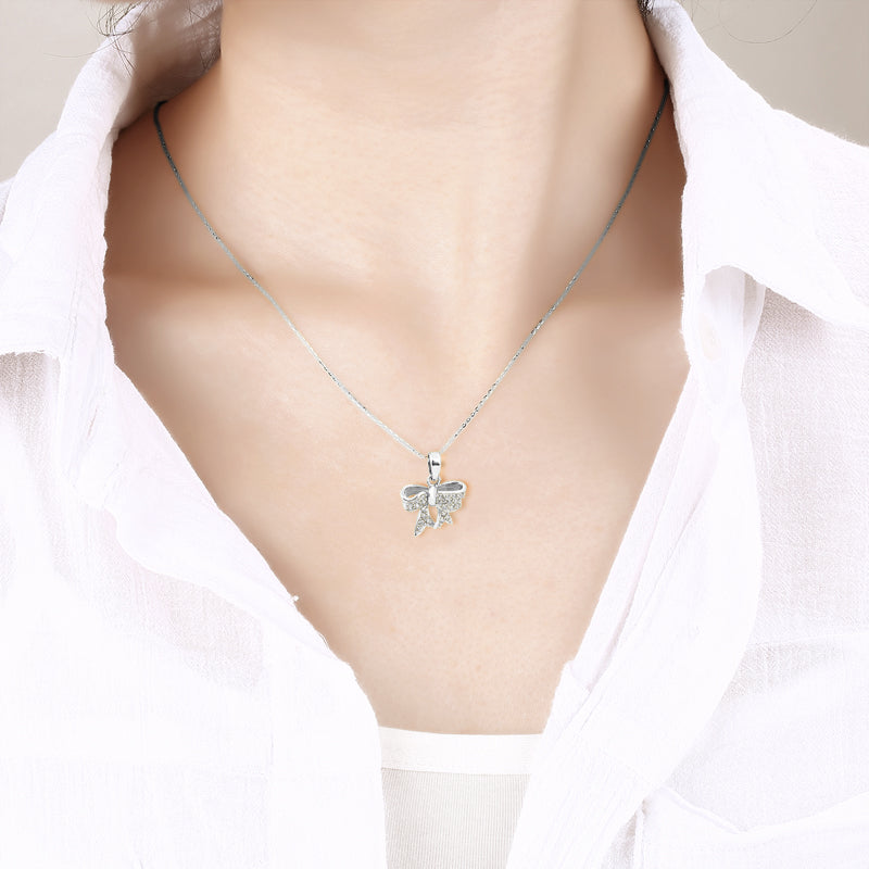 Bow Created White Diamond Pendant Necklace