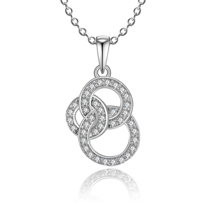 Cross Circle Created White Diamond Pendant Necklace