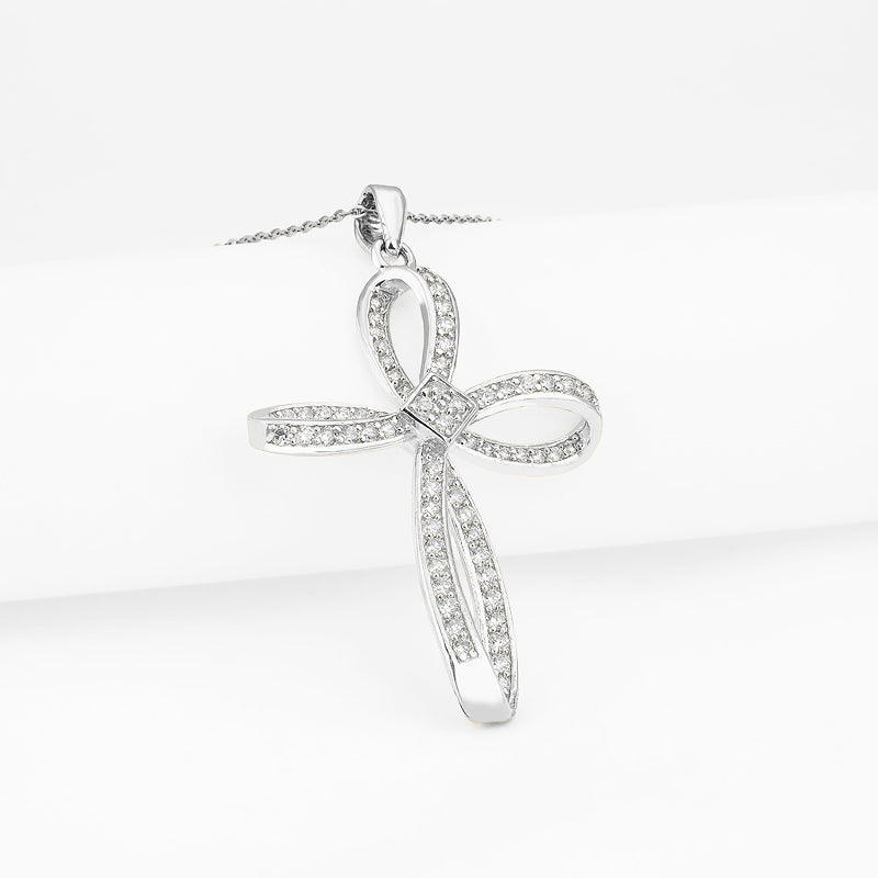 Cross Knot Created White Diamond Pendant Necklace