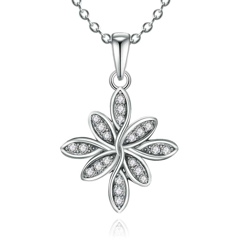 Flower Created White Diamond Pendant Necklace