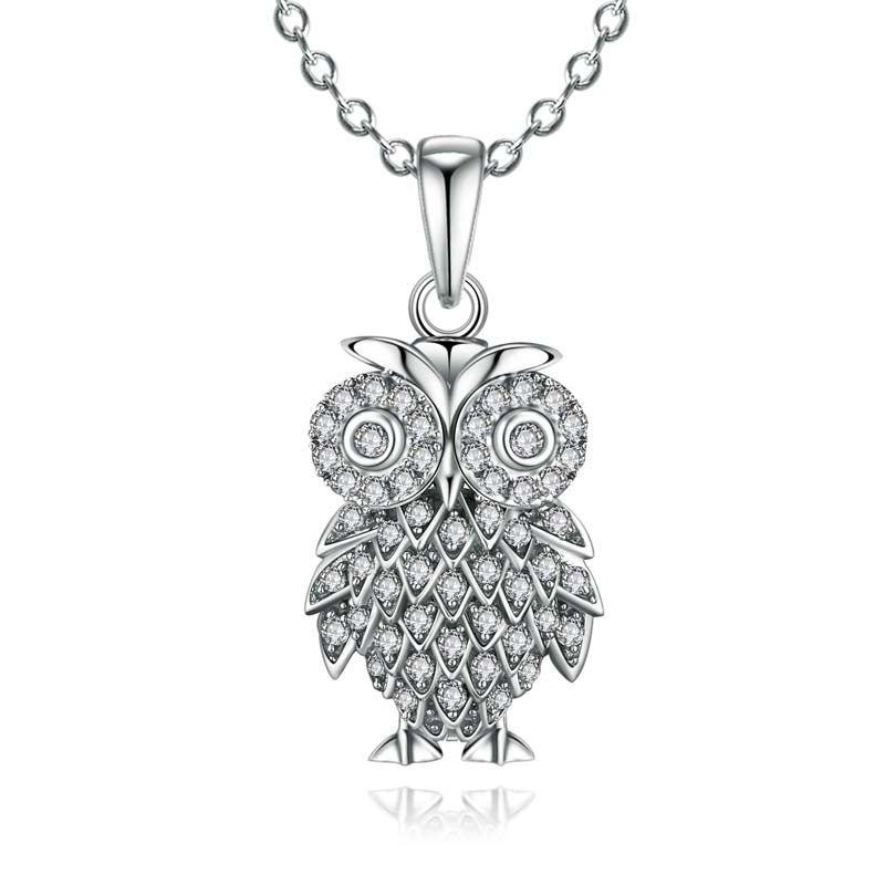 Owl Created White Diamond Pendant Necklace