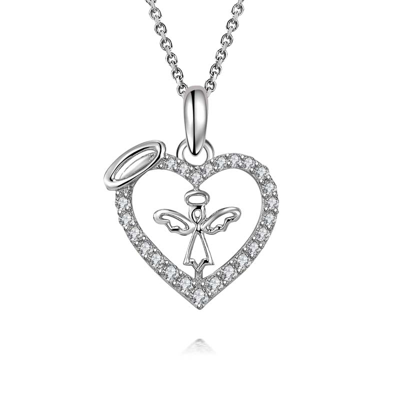 Angel Heart-Shaped Created White Diamond Pendant Necklace