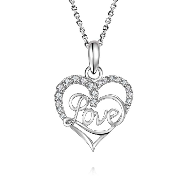 Love Heart-Shaped Created White Diamond Pendant Necklace